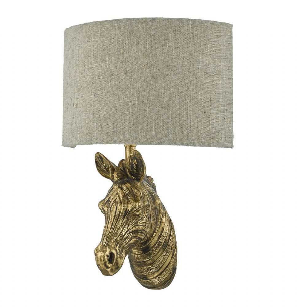 Abby 1 Light Wall Light Zebra Gold complete with Shade